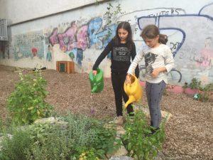 Die Kinder sorgen mit für die Grünpflege.